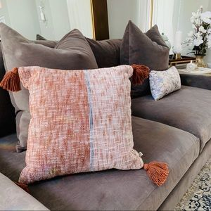 Hearth and hand rust tassel pillow new